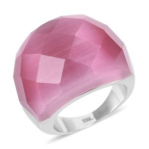 Jewelry - Lab Created Cats Eye Pink Stainless Steel Ring